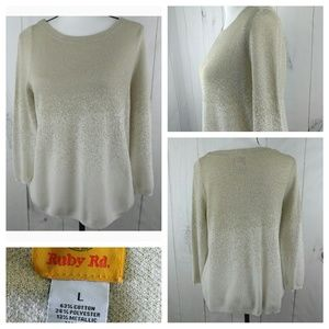 Ruby Rd. Women Scoop Neck Metallic Gold Ombre Knit